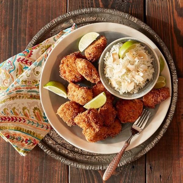Nuggets de frango com receita de arroz de coco de limão