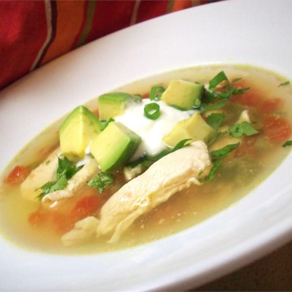 Sopa de Abacate com Receita de Frango e Limão
