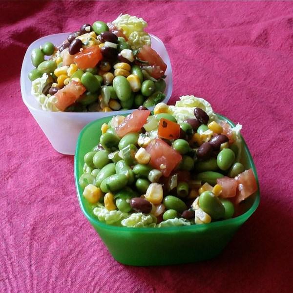 Salada de Edamame com Receita caseira de Vinagrete de Coentro de Alho