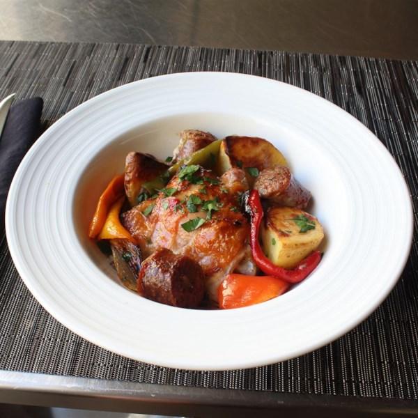 Receita de Frango, Linguiça, Pimentas e Batatas