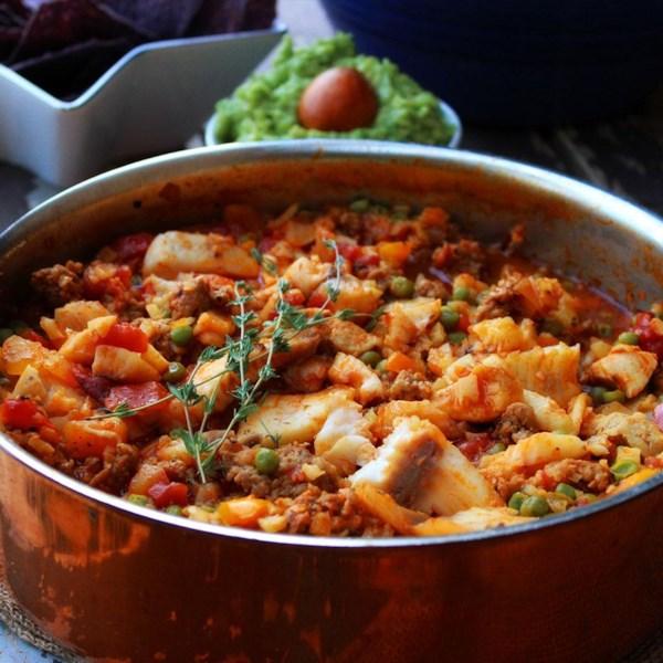 Paella mexicana com receita de arroz de couve-flor