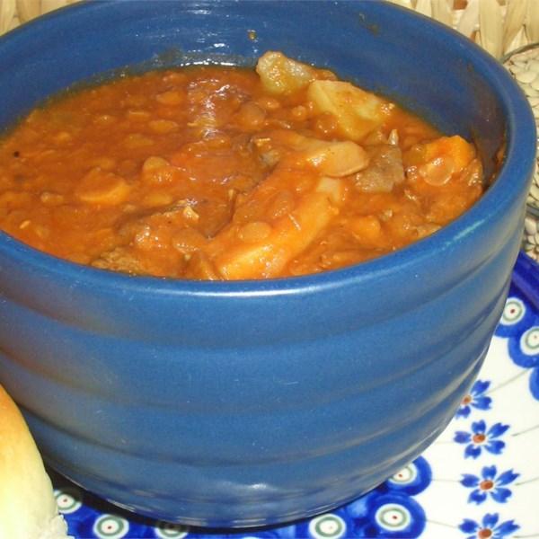 Receita de Sopa vegetal beefy lentil