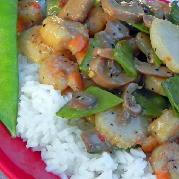 Camarão chinês com receita de alho
