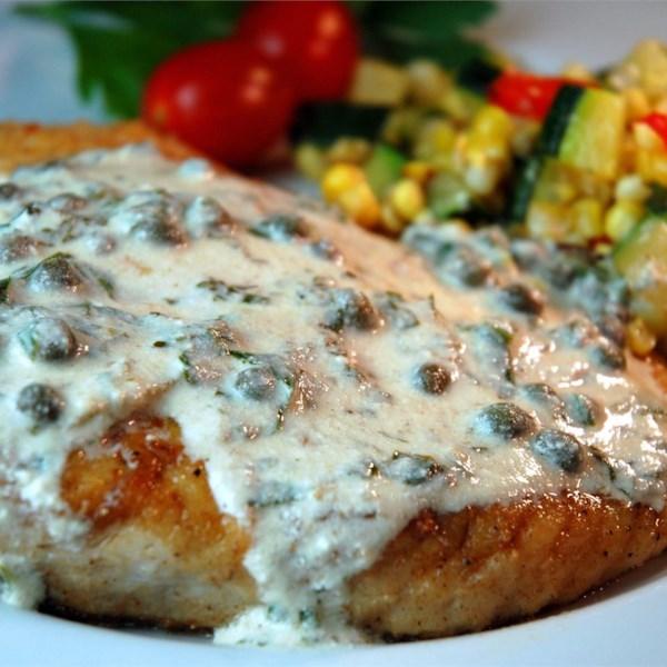 Pan Fried Halibut Steak com Receita de Molho Verde Claro