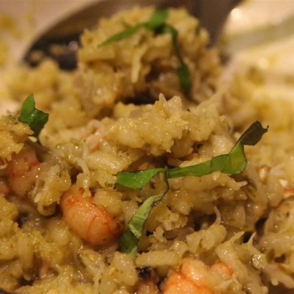 Risoto de Pesto de Manjericão com Receita de Vieiras Pan-Assadas