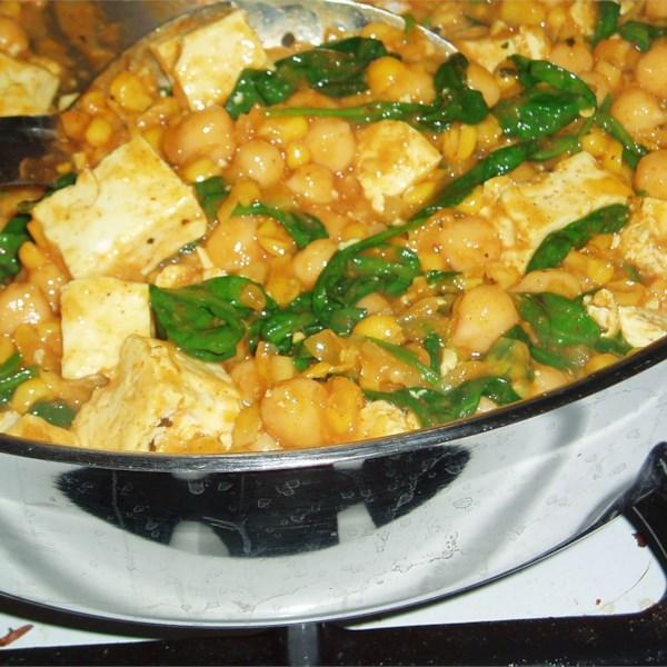 Receita de Curry de Grão-de-Bico de Espinafre