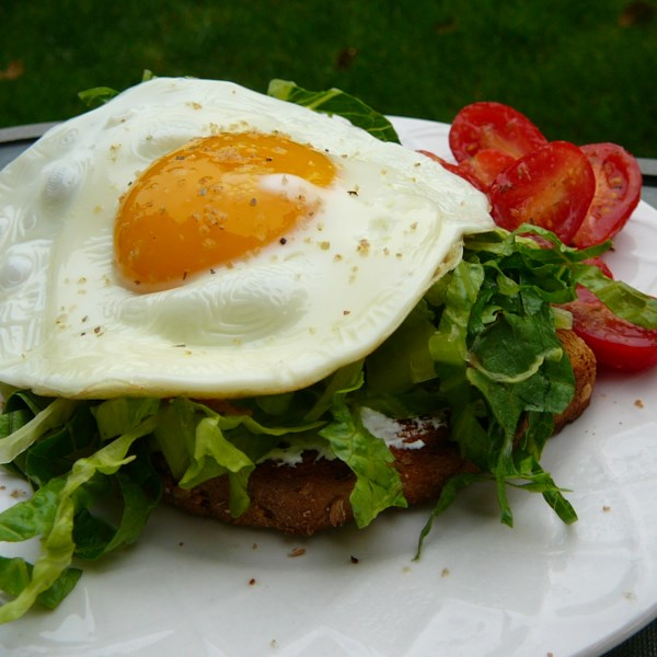 Sanduíches de ovo de cara aberta com receita de salada de rúcula