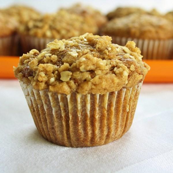 Muffins de abóbora com receita de cobertura streusel