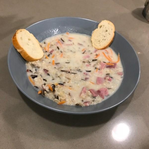 Receita elegante de sopa de arroz selvagem