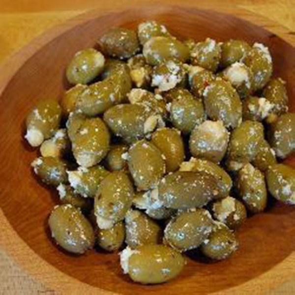 Tapas de azeitona recheada espanholas com receita de Feta