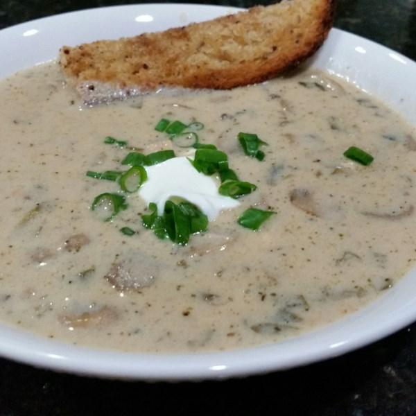 Receita de Cogumelo e Frango com Sopa de Creme de Leite