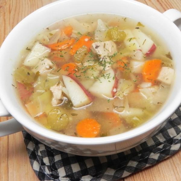 Sopa de Frango com Receita de Repolho