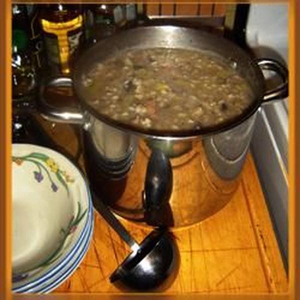 Receita de Sopa de Carne de Vovô, Cogumelo e Cevada