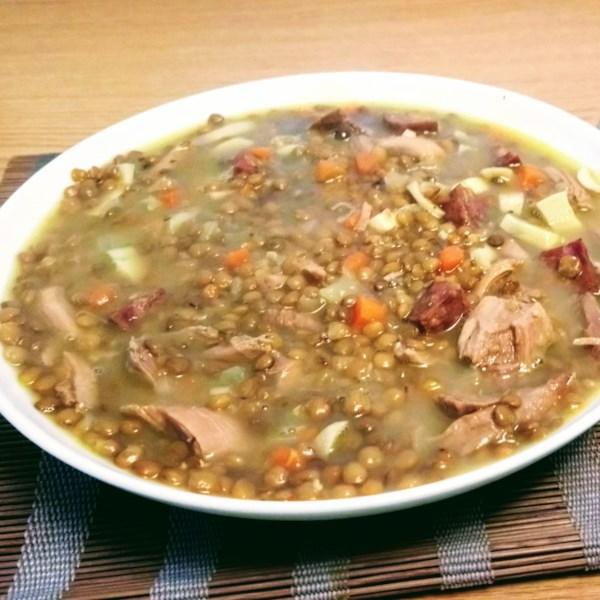 Receita de Sopa de Andouille, Cogumelo e Lentilha