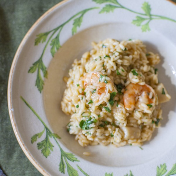 Receita italiana de risoto de camarão e vieira