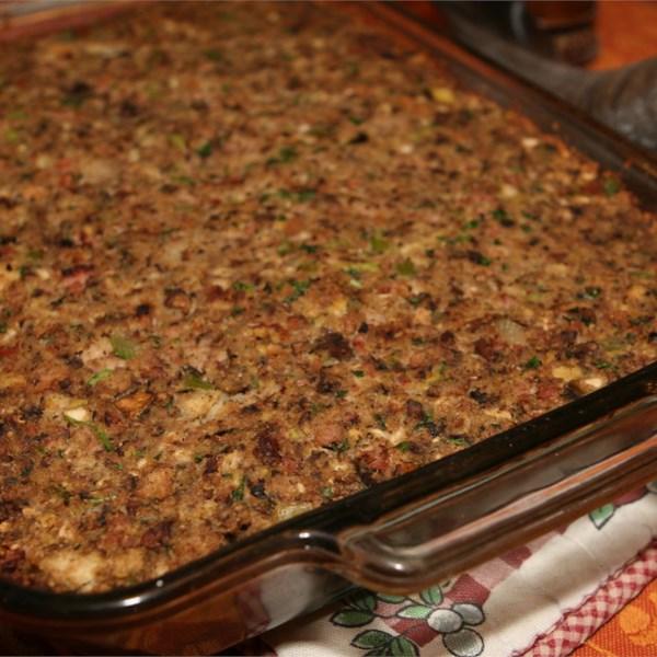 Receita de Recheio de Salsicha, Bacon, Maçã e Pão de Milho
