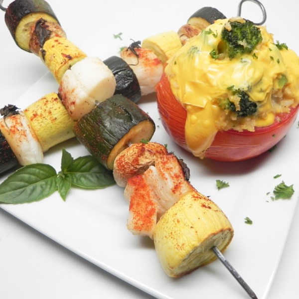 Mojito Scallop Kabobs de Mamita com Receita de Tomates Recheados