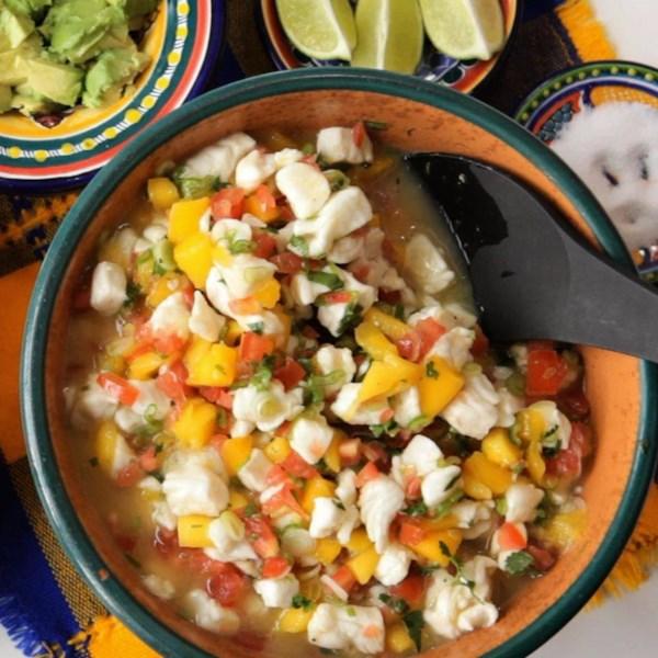 Receita mexicana de manga e ceviche de peixe branco