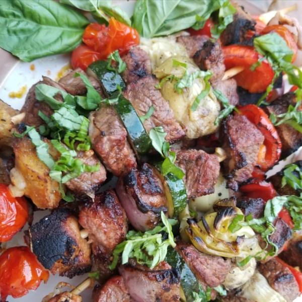 Receita de Kabobs de Carne De Panzanella Grelhada