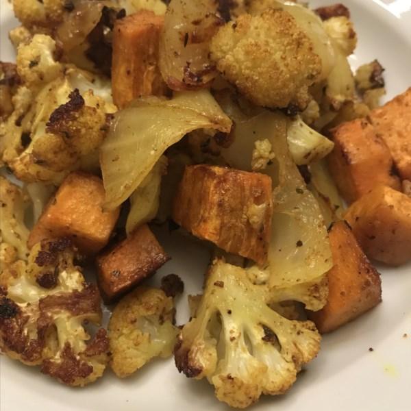 Receita de Batata Doce Assada com Curry-Spiced e Couve-Flor