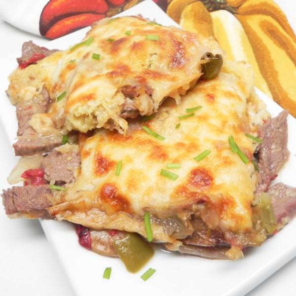 Torta de pastor philly-cheesesteak com receita de cobertura de abóbora de espaguete
