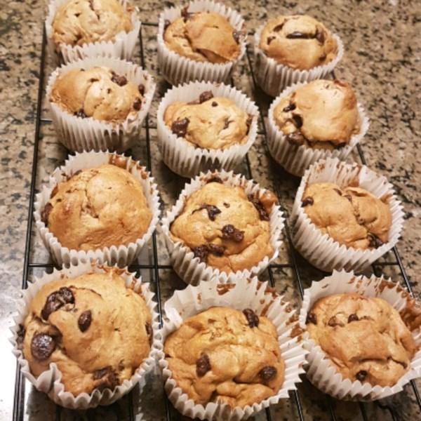 Receita de Muffins de Chocolate de Amêndoa de Banana