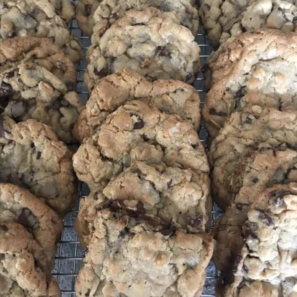 Biscoitos de chocolate de aveia Eu Receita