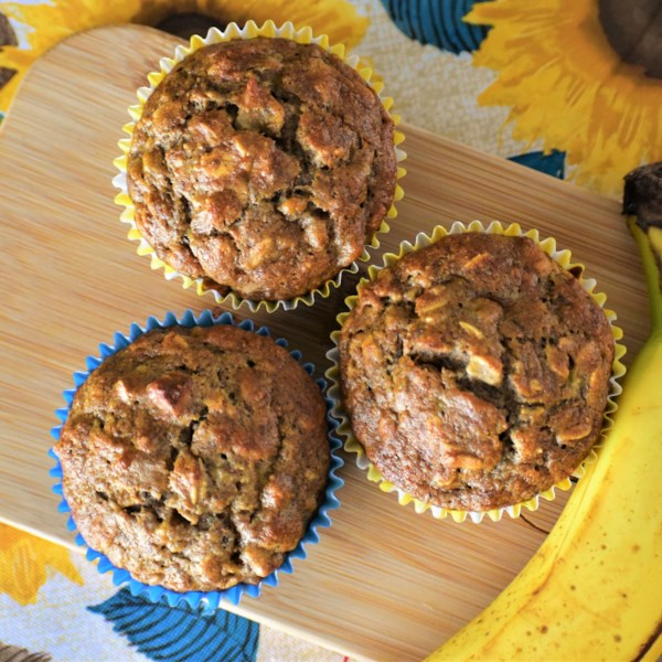 Receita de Muffins de Aveia de Banana de Trigo Integral