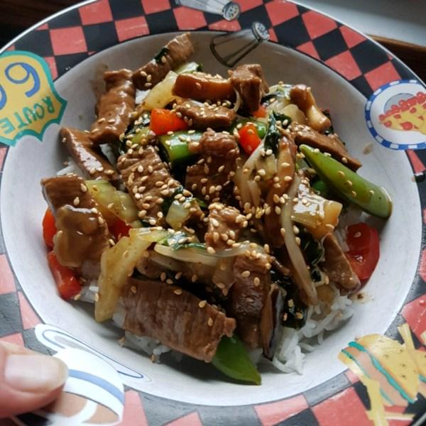 Receita japonesa de fritura de carne bovina