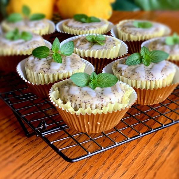 Receita vegana de muffins de sementes de limão-papoula