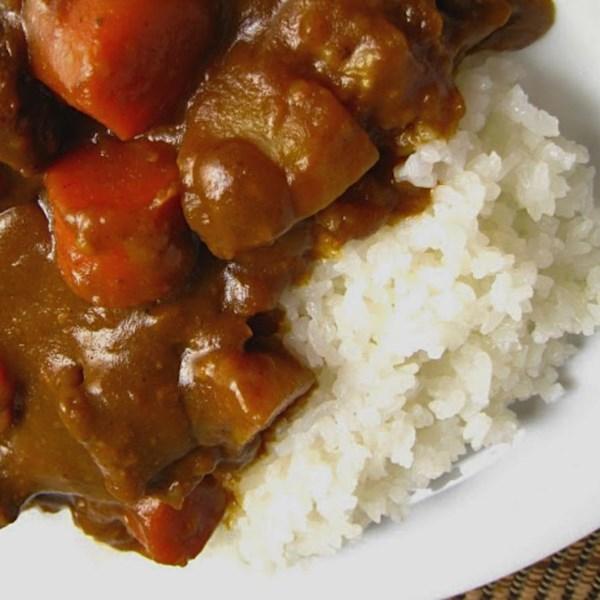 Curry de Coco sobre Receita de Arroz Pegajoso