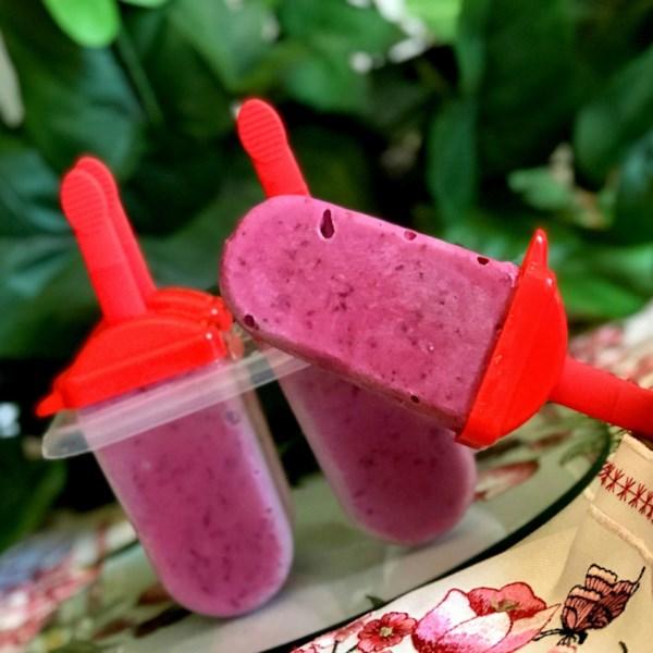 Receita de Iogurte de Pêssego-Blackberry Pops