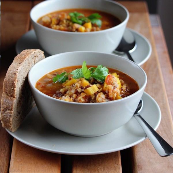Receita de Sopa de Sopa de Lentilha Vermelha Italiana e Arroz Integral