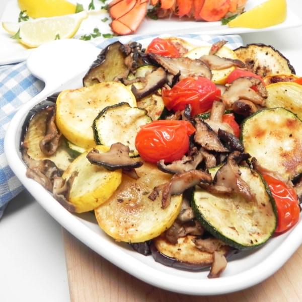 Receita de medley vegetal mediterrâneo frito a ar