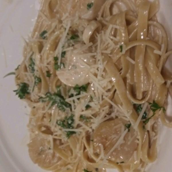 Receita de Espaguete de Vieira cremosa da baía