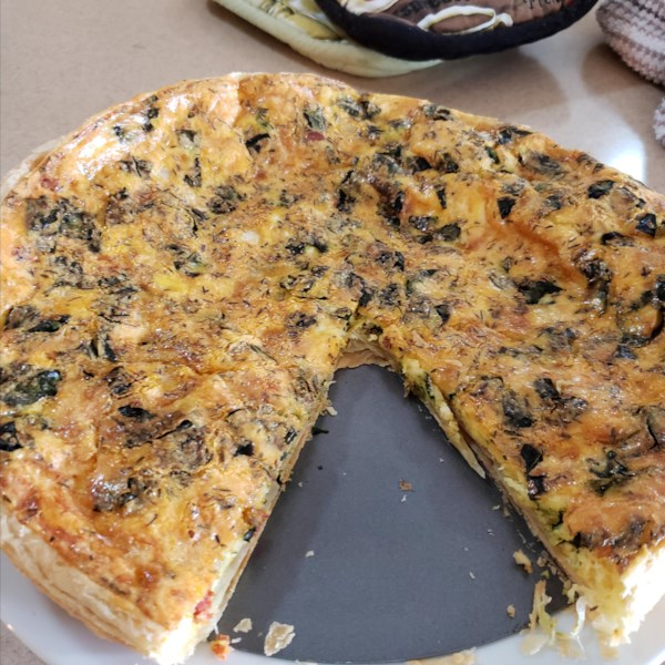 Receita de Alho-poró, Espinafre e Torta de Cogumelo