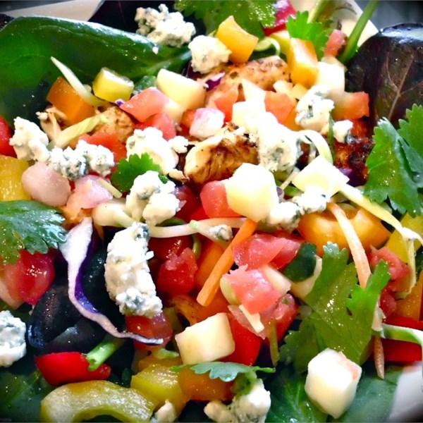 Salada de Salsa de Manga de Frango com Receita de Vinagrete de Limão Chipotle