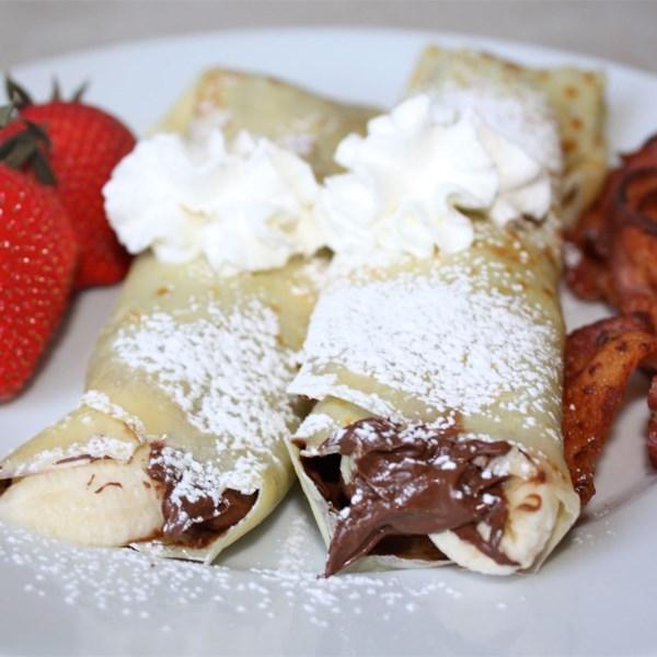 Receita de Crepes de Frutas de Avelã de Chocolate