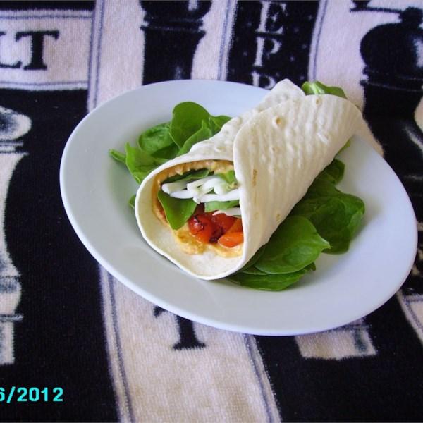 Receita de Envoltório de Hummus e Alcachofra