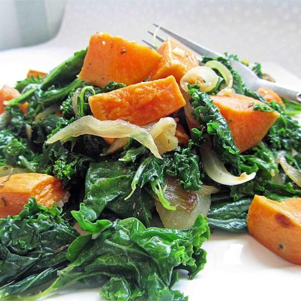 Receita de Salada de Inhame Assado e Couve