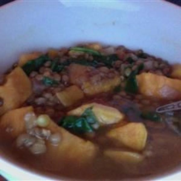 Receita de Sopa de Batata Doce Indiana e Lentilha