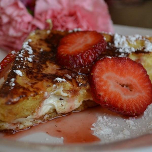 Receita de Torrada Francesa cheesecake de morango