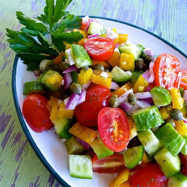 Salada de Pepino com Receita de Vinagrete dill