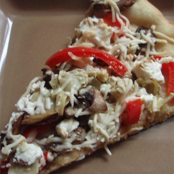 Receita de Cogumelo Portobello, Pimentas Frescas e Pizza de Queijo de Cabra