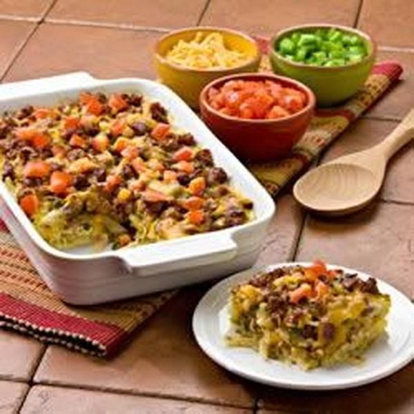 Receita de Caçarola de Salsicha de Batata Mexicana