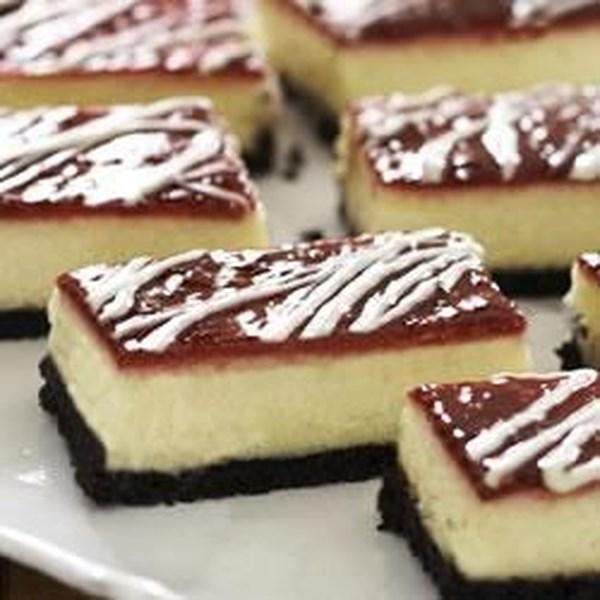 Receita de Barras de Cheesecake de Chocolate Branco-Framboesa