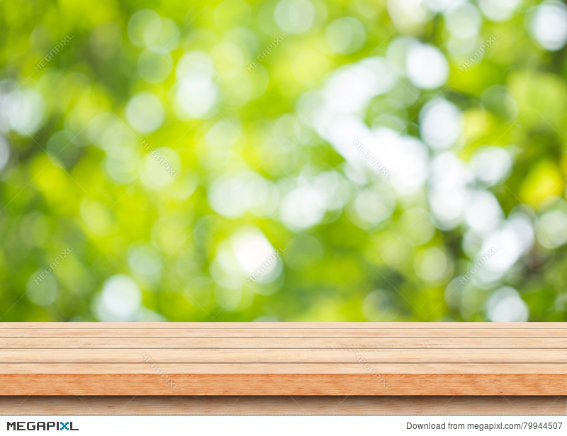 Empty Brown Wood Table Top With Blur Green Tree Bokeh Background Stock Photo 79944507 Megapixl