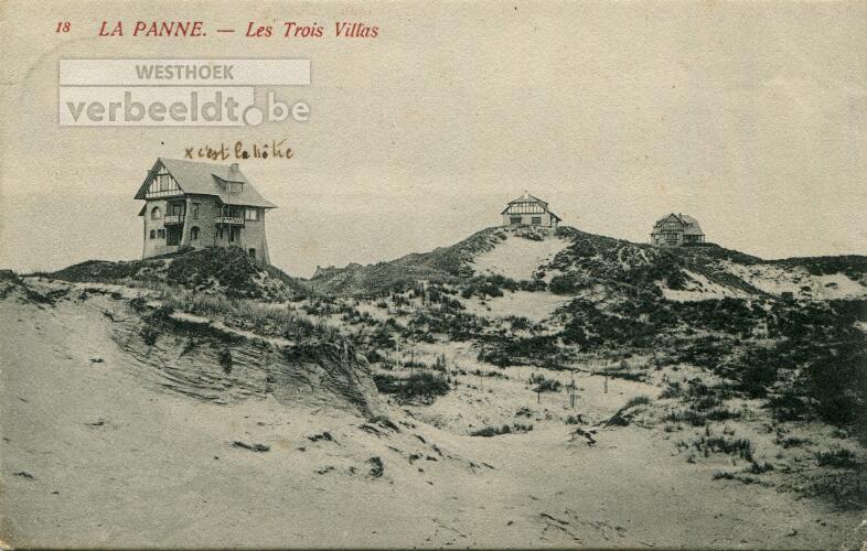 De Panne: drie villa's op evenveel duinen