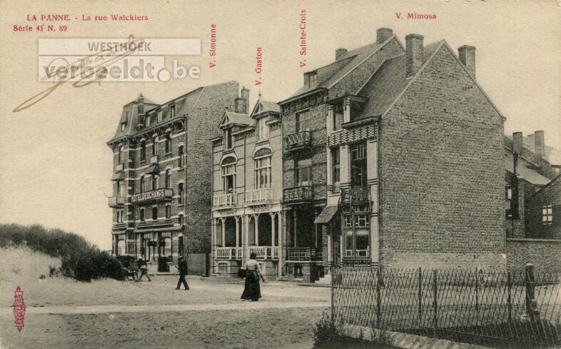 De Panne: de Walckierstraat, circa 1909 slechts aan één kant bebouwd