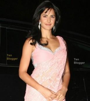 Katrina Kaif In Pink Gorgeous Saree Sexy Pic
